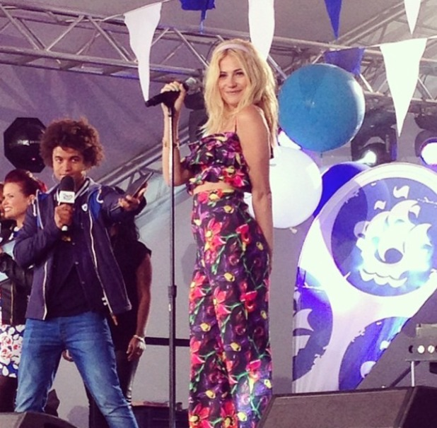 Pixie Lott performs on Blue Peter as CBBC broadcasts live from Gateshead Quayside, 29 May 2014