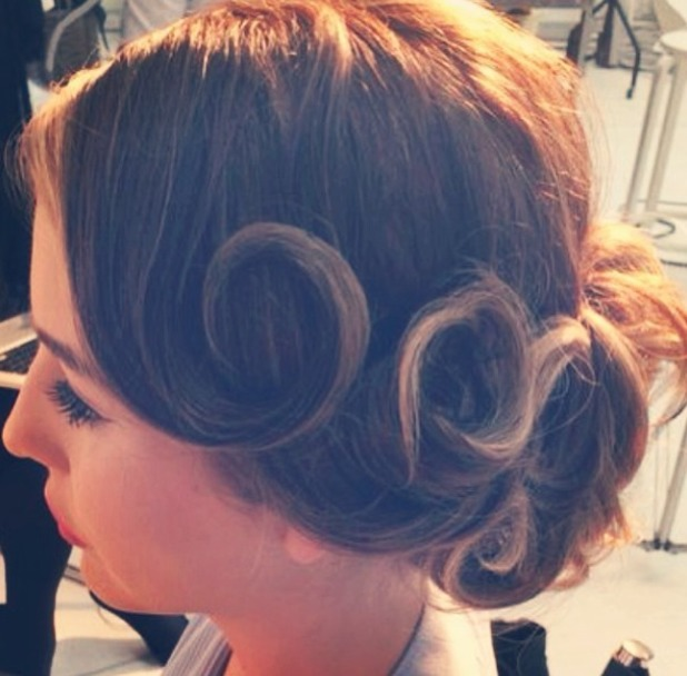 Lydia Bright does vintage hair, behind the scenes on shoot for her new accessories line for Vintage Styler, 28 May 2014