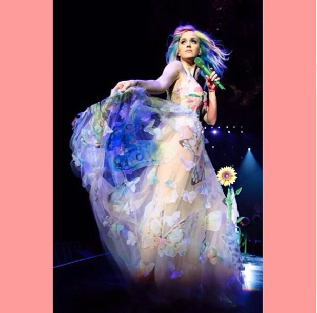 Katy Perry in butterfly dress at Prismatic World Tour show