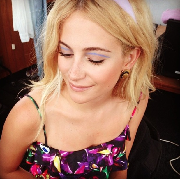 Pixie Lott shows off her blue eyeliner, before performing on Blue Peter as CBBC broadcasts live from Gateshead Quayside, 29 May 2014