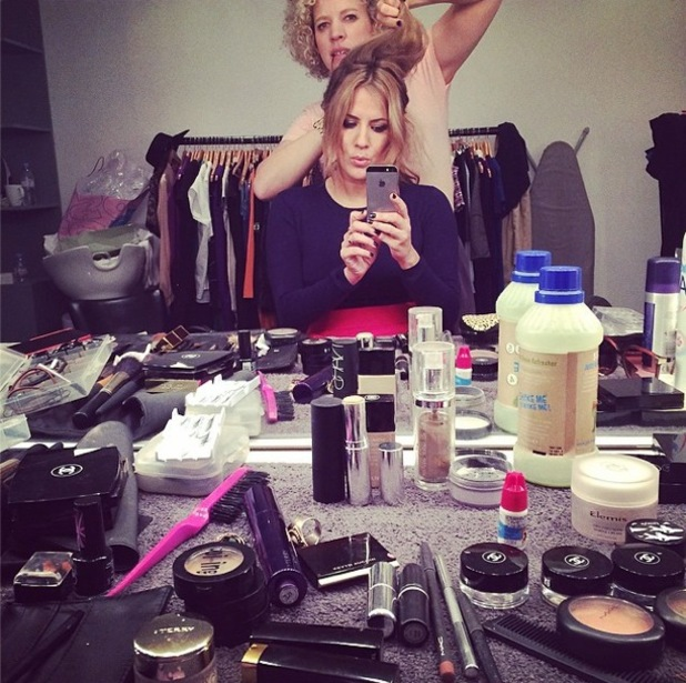 Caroline Flack Instagrams a picture of her make-up while getting ready for a photoshoot - 28 May 2014