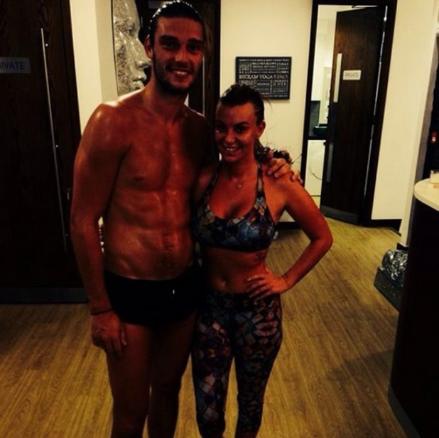 Billi Mucklow and Andy Carroll after a session at Billi's Bikram Yoga Essex, 29 May 2014