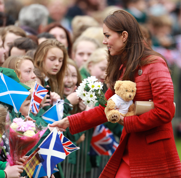 The Duchess of Cambridge greets royal well wishers in MacRosty Park in Scotland, 29 May 2014