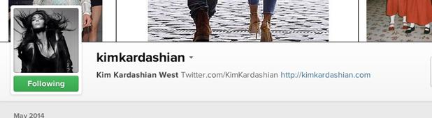 Kim Kardashian changes her Instagram name to Kim Kardashian West, 28 May 2014