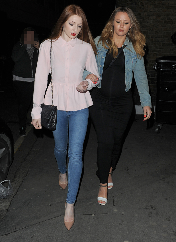 Nicola Roberts and pregnant Kimberley Walsh enjoy a night at Townhouse restaurant in Soho, 29 May 2014