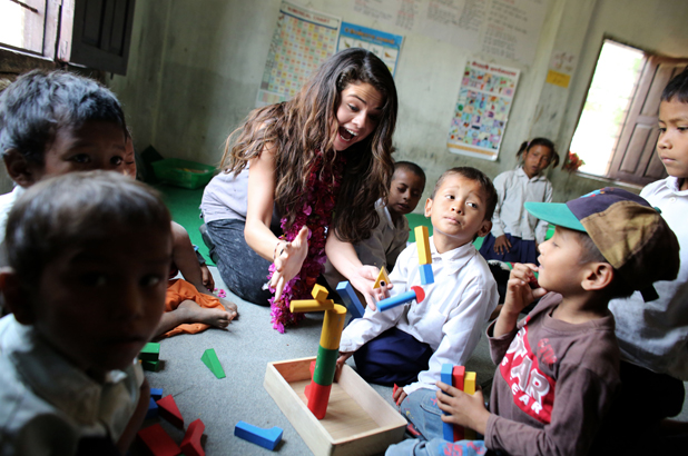 Selena Gomez visits Nepal in her role as UNICEF Ambassador, May 2014.UNICEF Ambassador, Selena Gomez visits an early childhood education classroom at the child-friendly Satbariya Rapti Secondary School where she witnesses their safe, interactive, creative and fun learning environment.