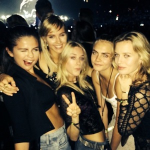 Cara Delevingne, Selena Gomez, Suki Waterhouse at Katy Perry concert in May 2014.