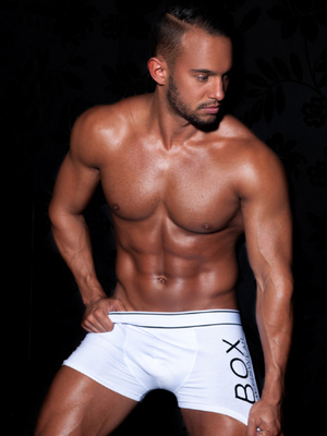Kenzie models his own range of boxer shorts from Box Menswear - 4 June 2014