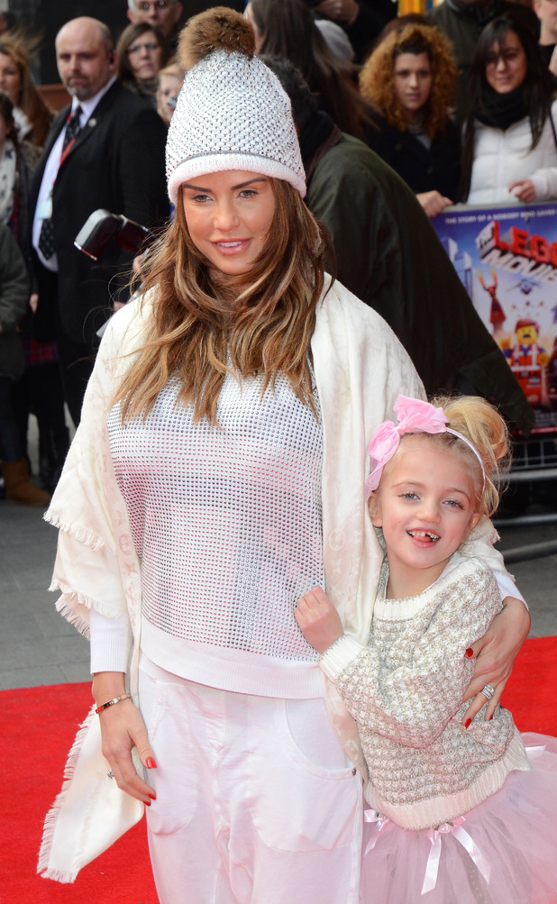 Katie Price with daughter Princess Tiaamii at The Lego Movie film premiere in London, England - 9 February 2014