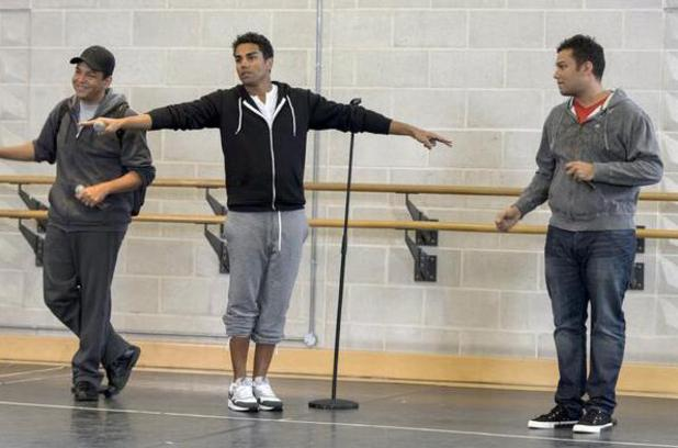 TJ, Taryll and Taj Jackson in rehearsals during series two of The Big Reunion.
