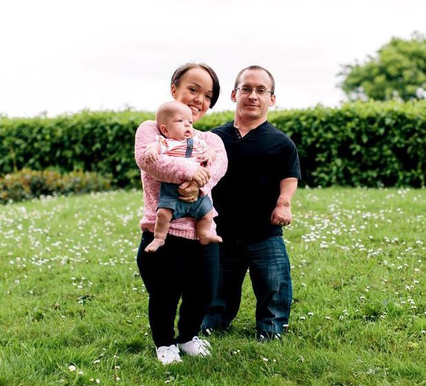 Laura Whitfield, fiance Nathan and baby Nathan who has double dwarfism