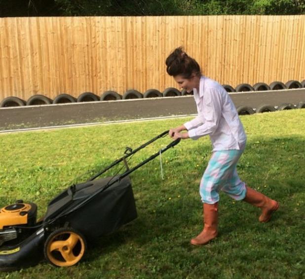 Helen Flanagan mows in her PJs