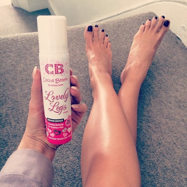 Millie Mackintosh shows off her bronzed legs after using Cocoa Brown's Lovely Legs - 4 June 2014