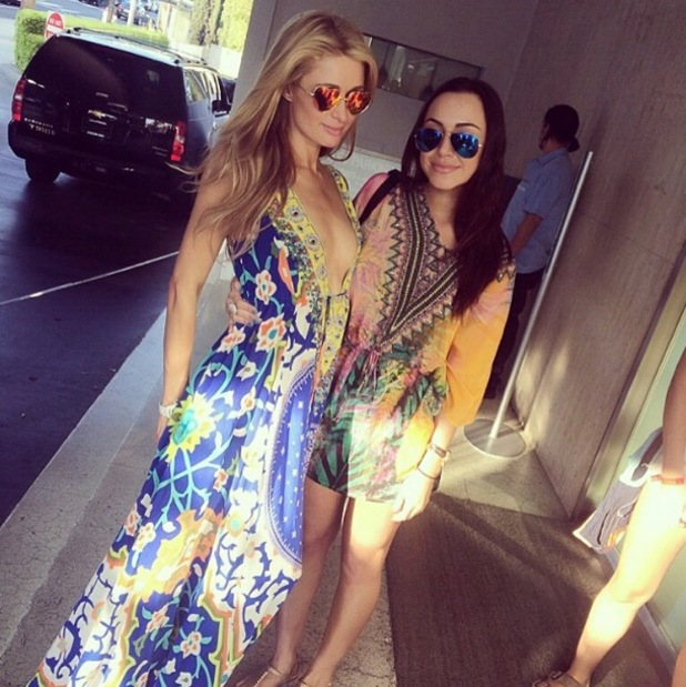 Paris Hilton wears a multicoloured printed maxi dress while celebrating a friend's birthday - 2 June 2014