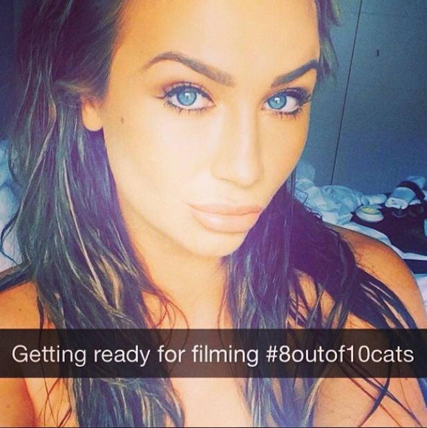 Former TOWIE star Lauren Goodger takes a selfie while filming 8 Out Of 10 Cats - 2 June 2014