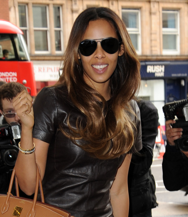 Rochelle Humes arrives at the ME hotel in London showing off super-long hair again, 3 June 2014