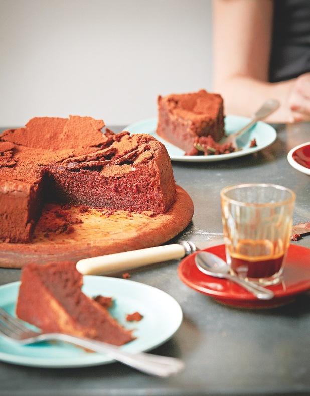 Gluten-free chocolate mud cake ginger & white