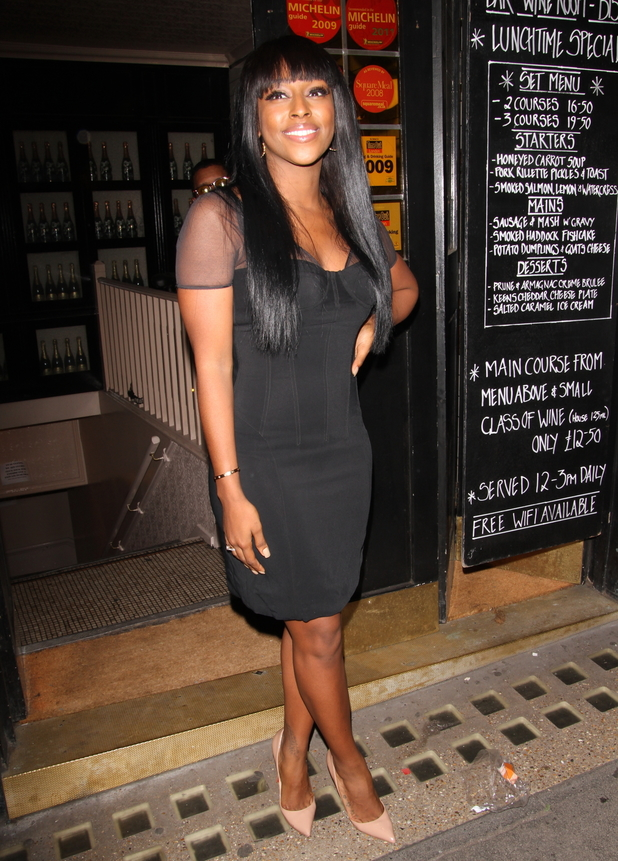Alexandra Burke headed to the Bedford and Strand wine bar following her debut performance on the Bodyguard musical. 06/02/2014 London, United Kingdom