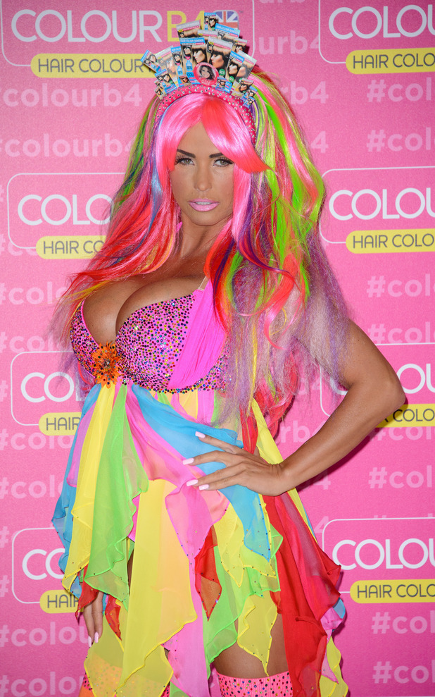 Katie Price wears a rainbow outfit while attending the Colour B4 press event in London, England - 4 June 2014