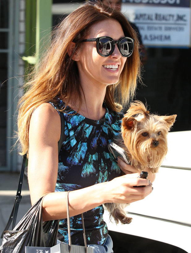 Audrina Patridge leaving Andy Le Compte Hair Salon in West Hollywood with dog lady, June 2014