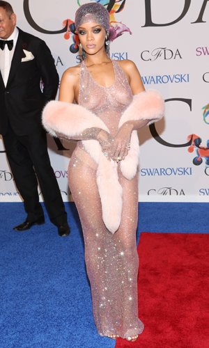 Rihanna bares her boobs in see-through Adam Selman dress at 2014 CFDA Fashion Awards, New York, America - 02 Jun 2014