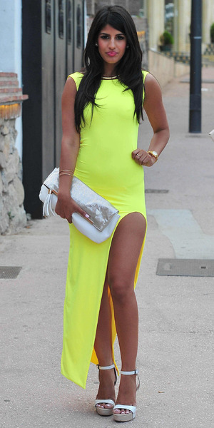 Jasmin Walia wears a neon yellow dress while out in Marbella, Spain - 10 June 2014
