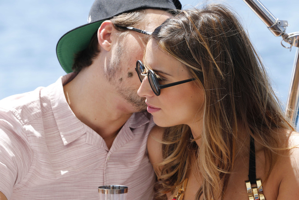 The Only Way Is Essex' cast in Marbella, Spain - 07 Jun 2014 Charlie Sims, Ferne McCann on board a yacht