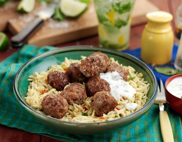 Lamb meatballs with Brazilian samba rice