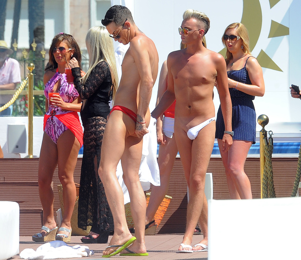 TOWIE's Bobby Norris and Harry Derbidge wear asymmetrical thongs in Marbella - 10 June 2014