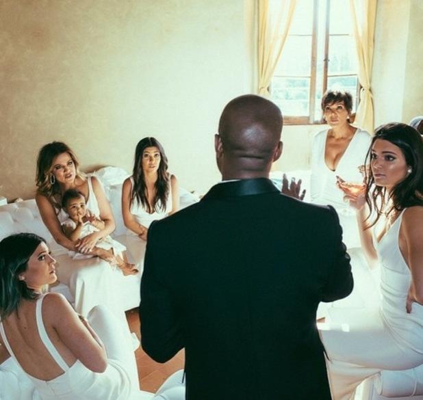 Khloe Kardashian shares photo of Kanye West addressing Kardashian-Jenner ladies at his wedding to Kim in Florence, 24 May.
