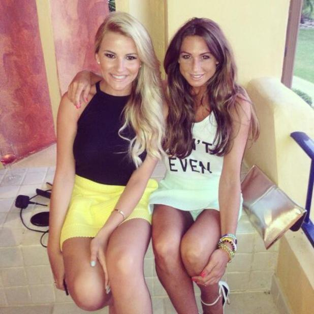 TOWIE's Grace Andrews poses with BFF Georgia Kousoulou in Marbs, 14 June 2014