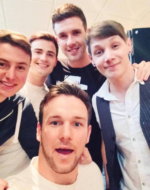 Britain's Got Talent stars Collabro - Michael Auger, Richard Hadfield, Jamie Lambert, Thomas Leak, Matthew Pagan - pose for selfie after announcing Syco deal. 13 June 2014.