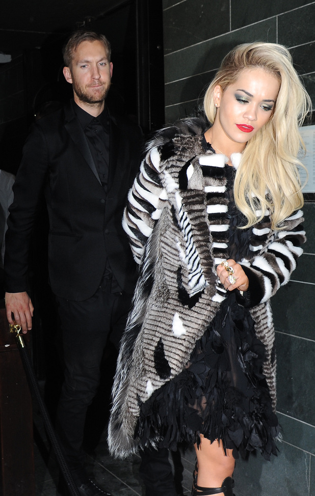 Calvin Harris and Rita Ora leaving the Brit Awards 02/20/2014