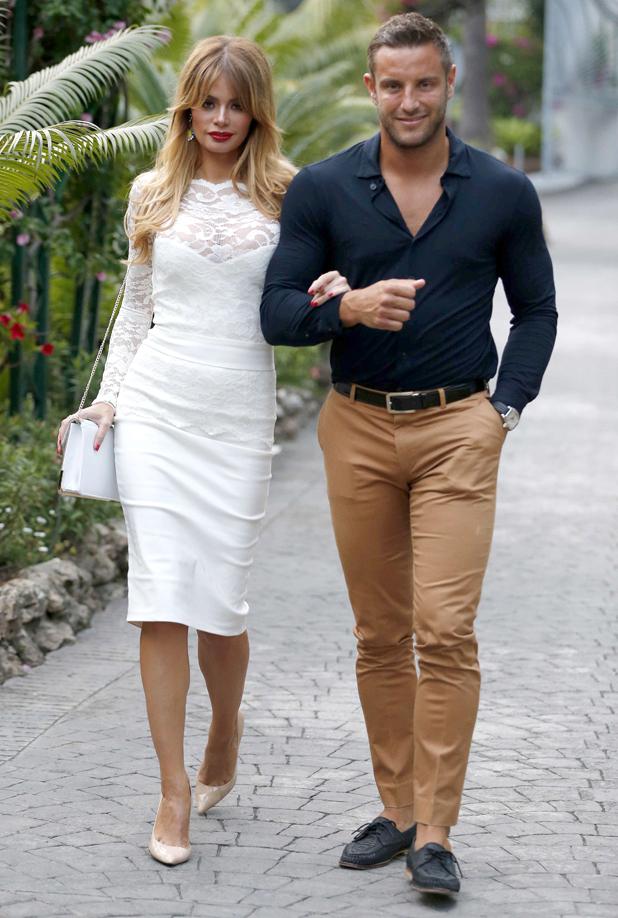 TOWIE stars Elliott Wright and Chloe Sims enjoy a dinner date in Marbella, June 2014