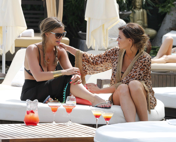 TOWIE's Ferne McCann talks to Jessica Wright about her relationship troubles at La Sala By The Sea Restaurant & Bar, Marbella 11 Jun 2014