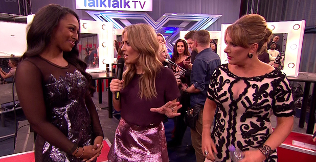 Caroline Flack is seen backstage with Alexandra Burke and Sam Bailey during 'Beyonce Vs Elton John' week on 'The X Factor', Shown on ITV1 HD, 2013