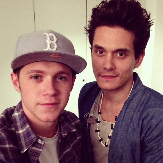 Niall Horan hangs out with John Mayer after John's London O2 concert, 9 June 2014