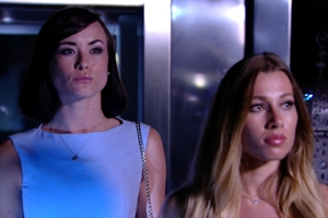 Imogen Leaver and Robyn Althesan arrive on The Only Way Is Marbs, 22 June 2014