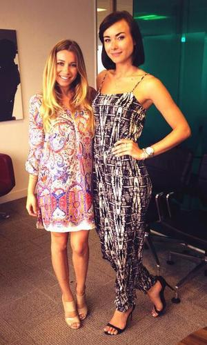 TOWIE newbies Robyn Althasen and Imogen Leaver pose at ITV studios - 19 June.