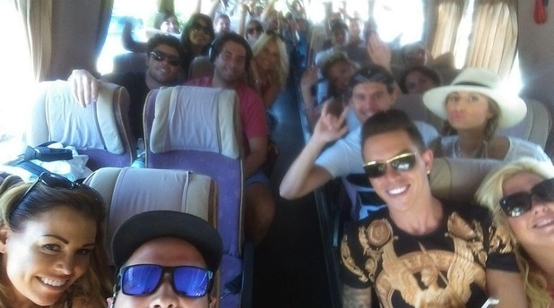 TOWIE cast on coach home from Marbella, Spain, 16 June