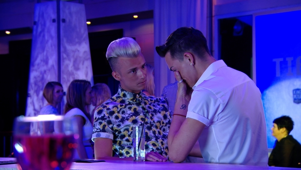 Harry Derbidge and Bobby Norris have a teary conversation on The Only Way Is Marbs, 22 June 2014