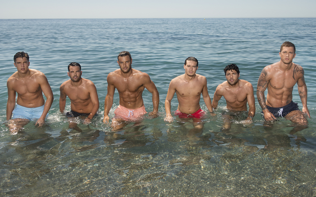 TOWIE's Lewis Bloor, Elliott Wright, Ricky Rayment, Charlie Sims, Tom Pearce, Dan Osborne, pose in their trunks for Marbs promo - 18 June 2014