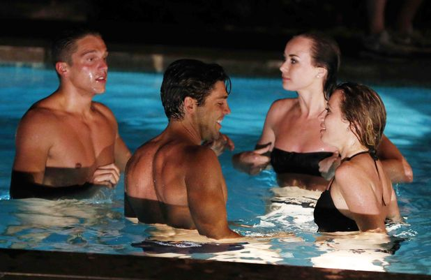 'The Only Way Is Essex' cast at the 'boys villa', Marbella, Spain - 11 Jun 2014. Lewis Bloor and Tom Pearce in the swimming pool with Imogen Leaver and Robyn Althasen