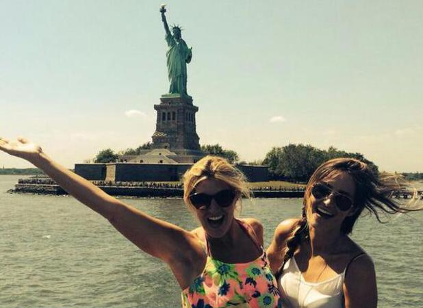 Made In Chelsea's Cheska Hull and Fran Newman-Young pose in front of the Statue of Liberty (17 June).