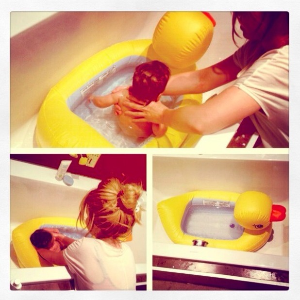 Katie Piper enjoys bath time with her daughter Belle, 20 June 2014