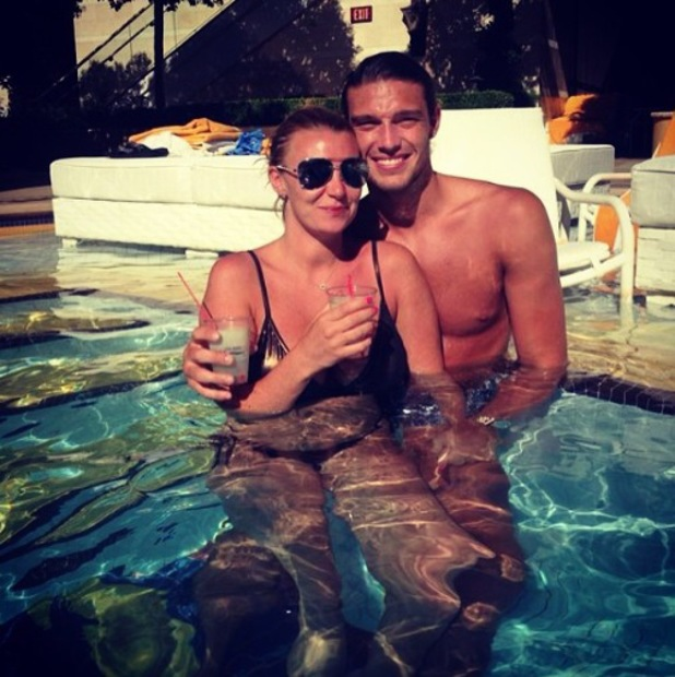 TOWIE's Billi Mucklow and Andy Carroll are pictured in a swimming pool in Las Vegas - 19 June 2014
