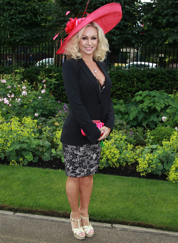Kristina Rihanoff thrown out of Royal Ascot for betting slip dress, changes into black and white dress - 18 June 2014