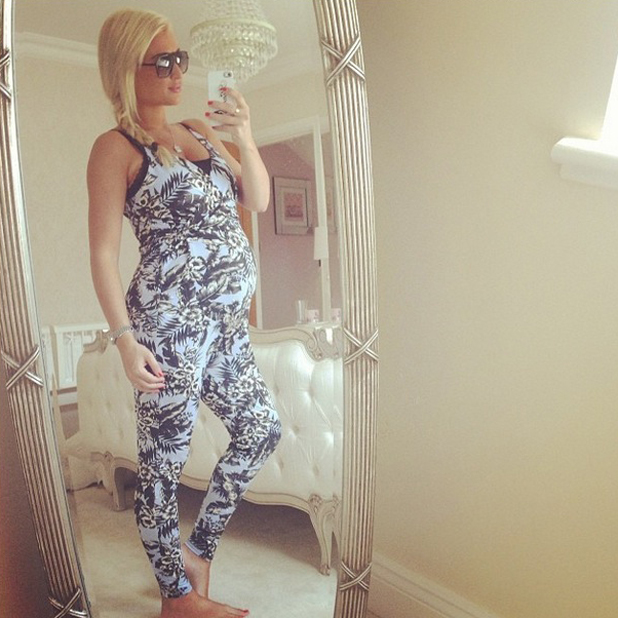 Billie Faiers shows off her baby bump in tropical blue jumpsuit from Minnies Boutique, 19 June 2014