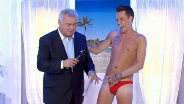 Eamonn Holmes and Bobby Cole Norris in his thong on 'This Morning' TV Programme, London, Britain - 20 Jun 2014