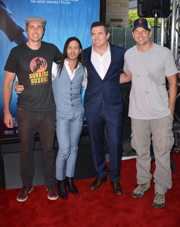 Dax Shepard, Andrew Panay, Tucker Tooley, and Bradley Cooper, 'Earth To Echo' film premiere, Los Angeles, America 14 Jun 2014
